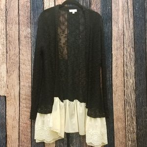 Umgee Black and Ivory Lace Front Cardi
